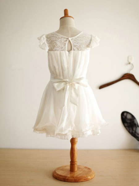 A-Line/Princess Chiffon Scoop Sleeveless Hand-Made Flower Knee-Length Flower Girl Dresses