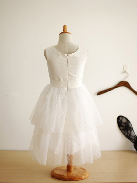A-Line/Princess Tulle Jewel Sleeveless Hand-Made Flower Tea-Length Flower Girl Dresses